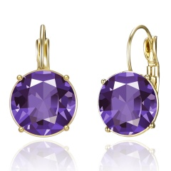 Fashion Yellow Gold Round Crystal Earrings Hoop Earrings Wedding Jewelry Party Purple