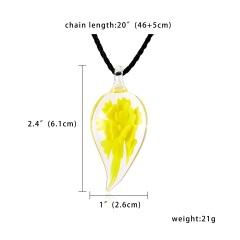 New Fashion Gold Foil Heart Flower Lampwork Glass Pendant Necklace Women Jewelry Yellow