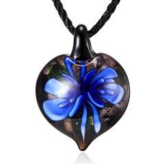 New Lampwork Glass Heart Drop Inside Pendant Necklace Women Jewelry Gifts Dark Blue
