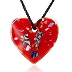 New Gold Foil Heart Flower Lampwork Glass Pendant Necklace Women Jewelry Red