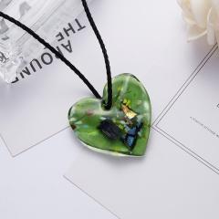 New Gold Foil Heart Flower Lampwork Glass Pendant Necklace Women Jewelry Green