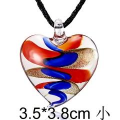 Fashion Glass Murano Lampwork Pendant Necklace Heart Flower Women Jewelry Gift Red Blue