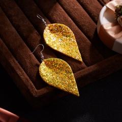 Fashion Multicolor Bohemian PU Leather Earrings Leaf Dangle Earrings Femme Party Jewelry yellow