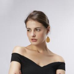 1 Pair Boho Women Leaf Waterdrop Leather Earrings Lady Sequin Dangle Jewelry orange