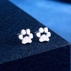 Cute Geometric Round Animal Paw Stud Earrings Women Girl Jewelry Paw silver