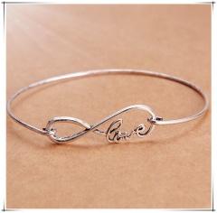 Silver Infinite Love Bangle Fashion Simple Cheap Handmade Bracelet Jewelry Infinite Love