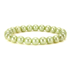 Rinhoo 1PC Trendy Popular Colorful Plastic Simulated-pearl Beads Bracelet For Women's Fashion Jewelry Gift Green