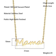 Mama Mother's Day Stainless Steel Alphabet Letter Pendant Necklace Gold