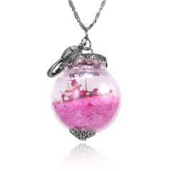Glass cover dried flower conch beach fish glass necklace pink