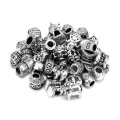 50PCS Alloy Beads Accessories antique silver Mottled antique silver Mottl