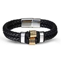 RINHOO Genuine Leather Stainless Steel Bracelet Charms Punk Jewelry Bracelet For Men Holiday Male Exquisite Jewelry Gift Double layer