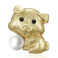 Trendy 12 Zodiac Dragon Pig Dog Brooch Pins Gold Simulated Pearl Brooch Chinese Zodiac Animal Fashion Garment Jewelry Accessory Pig