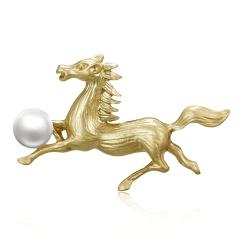 Trendy 12 Zodiac Dragon Pig Dog Brooch Pins Gold Simulated Pearl Brooch Chinese Zodiac Animal Fashion Garment Jewelry Accessory Horse