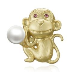Trendy 12 Zodiac Dragon Pig Dog Brooch Pins Gold Simulated Pearl Brooch Chinese Zodiac Animal Fashion Garment Jewelry Accessory Monkey