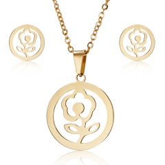 Fashion Stainless Steel Gold Earrings Necklace Jewelry Set Mother's Day Gift Hot Rose flower
