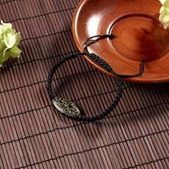 Rinhoo 1PC Handmade Vintage Geometric Pendant Adjustable Weaving Rope Chain Charm Bracelet For Women Men Fashion Jewelry Gift Black