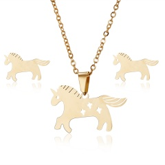 Fashion Stainless Steel Gold Earrings Necklace Jewelry Set Mother's Day Gift Hot Horse