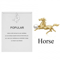 12 zodiac paper card necklace horse