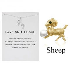 12 zodiac paper card necklace sheep