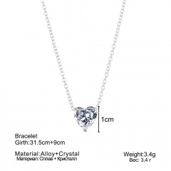 Heart Zircon Love Pendant Necklace Crystal
