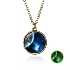 Luminous Galaxy Nebula Pyramid Glow in the Dark Glass Pendant Necklace Retro Hot Earth