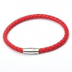 Punk Retro Wrap Long Leather Braided Bracelet Men Bangles Black Blue Sporty Chain Male Charm Bracelet 4 Layers red