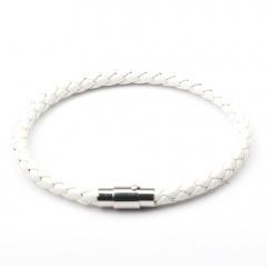 Fashion Leather Bracelet Magnet Clasp Bangle Wholesale White
