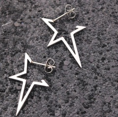 Fashion Stainless Steel Five-pointed Star Stud Earrings Unisex Jewelry silver