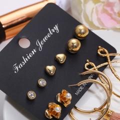 6pair/set Fashion Heart Flower Stud Earrings Tassel Hook Earrings Set Women Jewelry gold