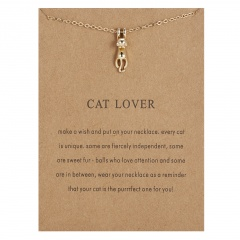 Cat Lover paper card kitten alloy necklace Gold