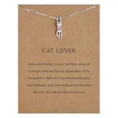 Cat Lover paper card kitten alloy necklace Silver