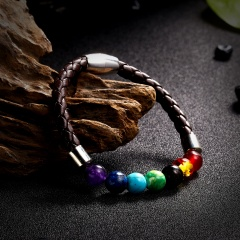 2019 Newst 7 Chakra Bracelet Men Black Lava Healing Balance Beads Reiki Buddha Prayer Natural Stone Yoga Bracelet For Women chakra bracelet 1