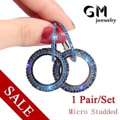 Women Fashion Jewelry Micro-Encrusted Diamond Round Pendant Earrings Blue