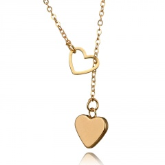 simple hollow heart peach heart pendant necklace Heart