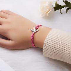 Best Friends Bracelets Girls Engagement Wedding Bridesmaid Silver Make a Wish Bird Owl Leaf Love Heart Lucky Clover Bracelets pink swallow