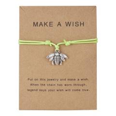 Best Friends Bracelets Girls Engagement Wedding Bridesmaid Silver Make a Wish Bird Owl Leaf Love Heart Lucky Clover Bracelets green bee