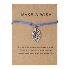 Best Friends Bracelets Girls Engagement Wedding Bridesmaid Silver Make a Wish Bird Owl Leaf Love Heart Lucky Clover Bracelets blue leaf