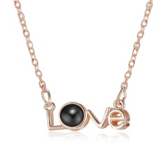 Rose Gold 100 Languages Light I Love You Projection Pendant Necklace Gift Love