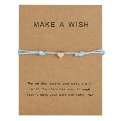 Simple Charm Bracelet black red colour Minimalist Adjustable Rope String Lucky Bracelet heart star for Women Men Jewelry Lover Blue