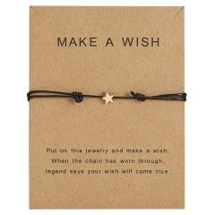 Star Charm Bracelet Adjustable Rope String Lucky Bracelet Star For Women Men Lovers Bead Vintage Jewelry Black