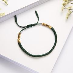RINHOO Vintage Tibetan Buddhist Love Lucky Charm Tibetan Bracelets & Bangles For Women Men Handmade Knots Rope Budda Bracelet Green