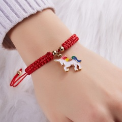 Lucky Red String Thread Horse Bracelets Pink Blue White Horse Charm Women Handmade Girls Friendship Jewelry Gift with Card WHITE HORSE