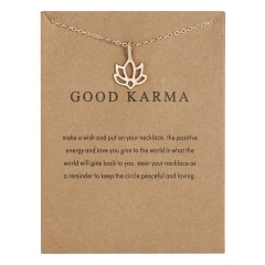 Good karma paper card lotus hollow alloy necklace NC18Y0508