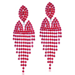 Wholesale Fashion Rhinestone Earring Factory Price Red