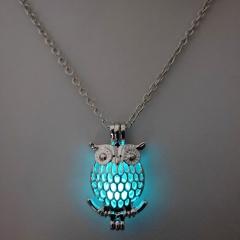 Charm Glow In The Dark Owl Animal Pendant Necklace Luminous Women Jewelry Owl-Green