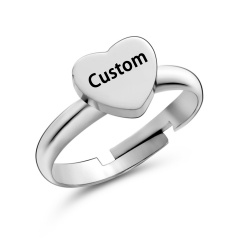 7 Fashion Gold/Silver/Rose gold Personalized Custom Stainless Steel Adjustable Rings Heart Gift Silver