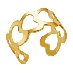 Fashion Gold Silver Iron Sheets Open Rings Simple Rings Jewelry Gold-Heart