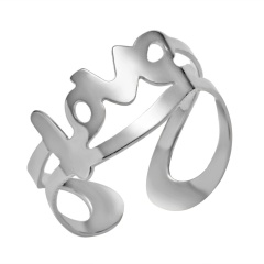 Charm 8mm Womens Mens Hollow Punk Open Knuckle Ring Gold Silver Jewelry Party Gift Silver LOVE 8