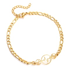 Stainless Steel Butterfly Bowknot Bracelets Cute Hollow Owls Snowflake Women Charm Adjustable Gold Bracelets Kids Gift round
