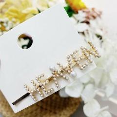English pearl word clip side clip hairpin hair ornament HW17Y072M0